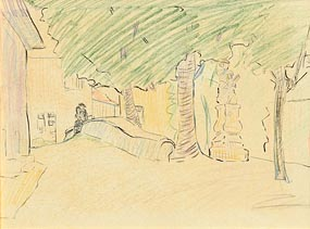 Mary Swanzy, Continental Town Square (c.1919) at Morgan O'Driscoll Art Auctions