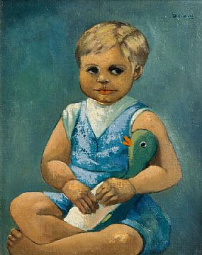 Daniel O'Neill, Child with Toy Duck at Morgan O'Driscoll Art Auctions