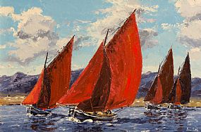 Ivan Sutton, Galway Hookers Racing, Roundstone Bay, Co.Galway at Morgan O'Driscoll Art Auctions