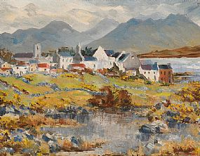 Fergus O'Ryan, Roundstone Village, Connemara at Morgan O'Driscoll Art Auctions