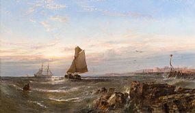 Edwin Hayes, Sunrise at Portstewart with Portrush beyond (1868) at Morgan O'Driscoll Art Auctions