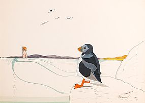 Pauline Bewick, Luke Kelly and the Puffin (1972) at Morgan O'Driscoll Art Auctions