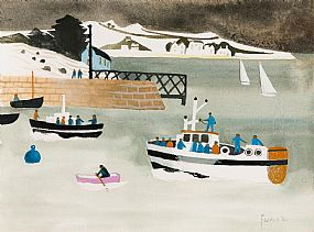 Mary Fedden, Boats in a Harbour (2001) at Morgan O'Driscoll Art Auctions