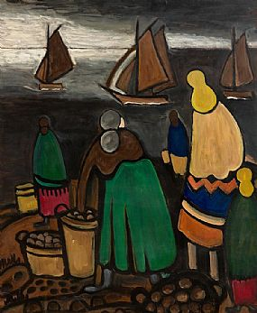 Markey Robinson, Potato Gatherers on the Coast at Morgan O'Driscoll Art Auctions