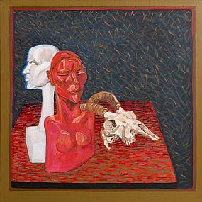 Brian Bourke, Plaster Head, Painted Bronze Head, Goat's Skull at Morgan O'Driscoll Art Auctions
