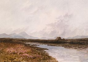 Percy French, Connemara Landscape with Peat Stacks at Morgan O'Driscoll Art Auctions