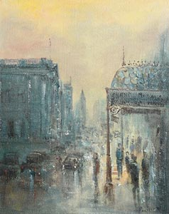 Peter Pearson, Winter Evening, Dame Street at Morgan O'Driscoll Art Auctions