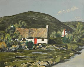 Ciaran Clear, Thatched Cottage, Rush at Morgan O'Driscoll Art Auctions