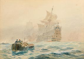 Joseph William Carey, Ships of the Line at Anchor off the Coast (2001) at Morgan O'Driscoll Art Auctions