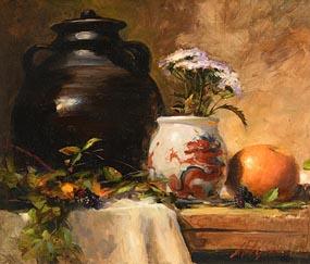 Mat Grogan, Still Life with Chinese Vase at Morgan O'Driscoll Art Auctions