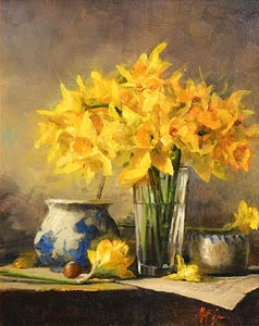 Mat Grogan, Still Life - Daffodils at Morgan O'Driscoll Art Auctions