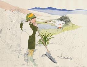 Pauline Bewick, Pati Looking at Geese (1970) at Morgan O'Driscoll Art Auctions