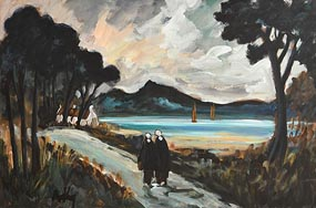 Markey Robinson, Shawlies on the Coastal Road at Morgan O'Driscoll Art Auctions