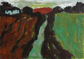 Nancy Wynne-Jones, Farmhouse and Red Barn (1987) at Morgan O'Driscoll Art Auctions