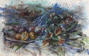 John Keating, Still Life - Fruit and Lilies (2001) at Morgan O'Driscoll Art Auctions
