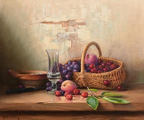 Robert Chailloux, Basket of Cherries, Grapes and Plums at Morgan O'Driscoll Art Auctions