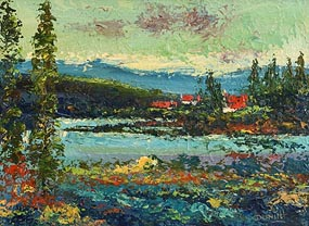 Daniel O'Neill, Cottages by the Lake at Morgan O'Driscoll Art Auctions