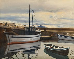 Cecil Maguire, The Nobby (Topaz II), At the Corner of the Harbour, Roundstone (1986) at Morgan O'Driscoll Art Auctions