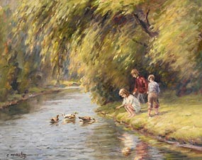 Charles J. McAuley, Feeding the Ducks at Morgan O'Driscoll Art Auctions