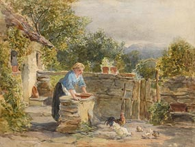 Francis William Topham, Feeding the Chickens at Morgan O'Driscoll Art Auctions