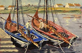 Ivan Sutton, Galway Hookers Berthed at Carraroe Pier, Connemara, Co. Galway at Morgan O'Driscoll Art Auctions