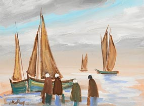 Markey Robinson, Sailboats and Shawlies at Morgan O'Driscoll Art Auctions