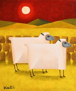 Graham Knuttel, Ewes in the Sunset at Morgan O'Driscoll Art Auctions