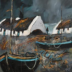 J.P. Rooney, Lonesome Irish Coastal Cottages at Morgan O'Driscoll Art Auctions