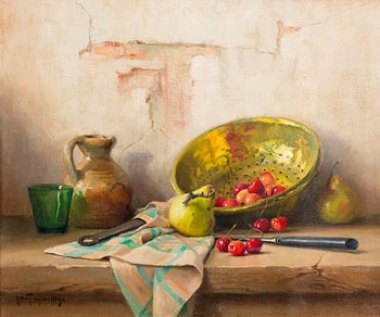 Robert Chailloux, Still Life - Fruit and Vessels on Tabletop at Morgan O'Driscoll Art Auctions