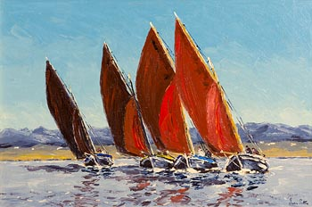 Ivan Sutton, Galway Hookers Racing Carraroe Bay, Co Galway at Morgan O'Driscoll Art Auctions