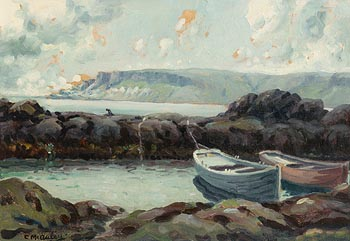 Charles J. McAuley, Antrim Coast, Moored Boats at Morgan O'Driscoll Art Auctions