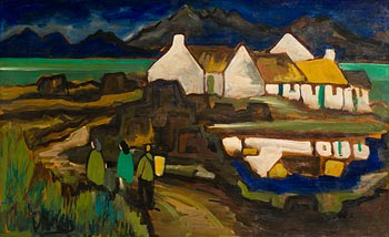 Markey Robinson, Returning to Roundstone with Twelve Bens, Connemara at Morgan O'Driscoll Art Auctions