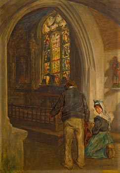 Aloysius C. O'Kelly, Breton Church Interior with Figures at Morgan O'Driscoll Art Auctions