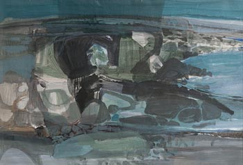 George Campbell, Nearing Dun Aengus, Inishmor (1971) at Morgan O'Driscoll Art Auctions
