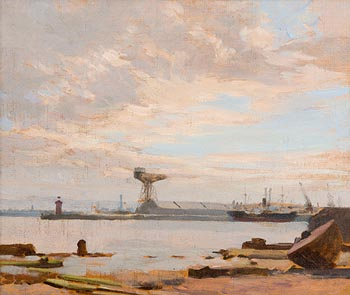 Dermod O'Brien, Dublin Docks at Morgan O'Driscoll Art Auctions