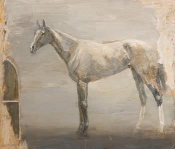 Basil Blackshaw, Grey Horse in a Stable at Morgan O'Driscoll Art Auctions
