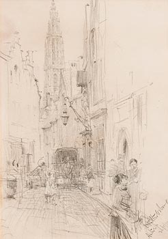 Walter Frederick Osborne, A Street in Antwerp (1894) at Morgan O'Driscoll Art Auctions