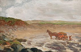 Jack Butler Yeats, Gathering Seaweed, Mayo Coast (1909) at Morgan O'Driscoll Art Auctions