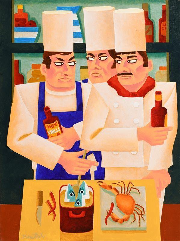 Graham Knuttel, Three Chefs at Morgan O'Driscoll Art Auctions