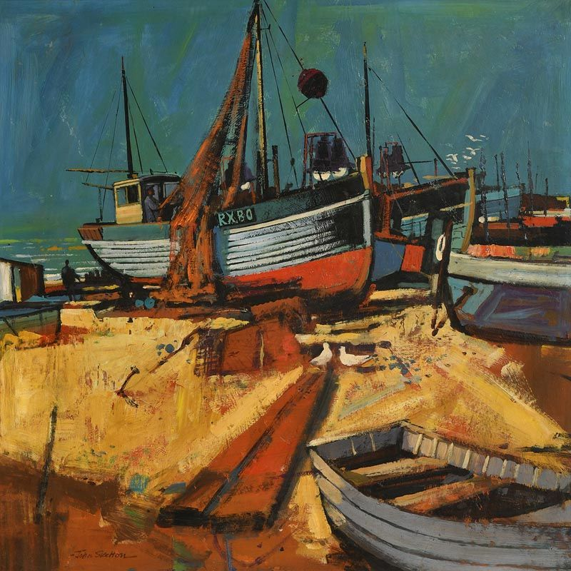 John Skelton, Fishing Boats, Kilkeel, Co Down at Morgan O'Driscoll Art Auctions