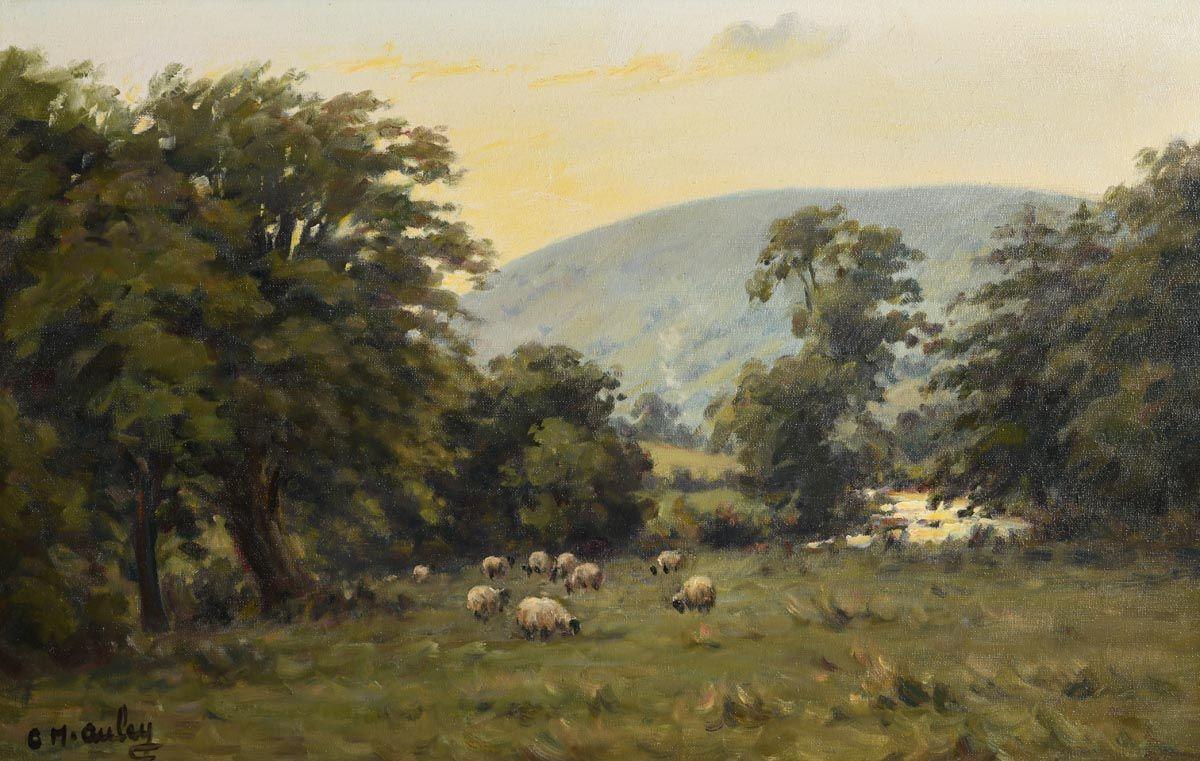 Charles J. McAuley, Sheep Grazing at Sunset, Glens of Antrim at Morgan O'Driscoll Art Auctions