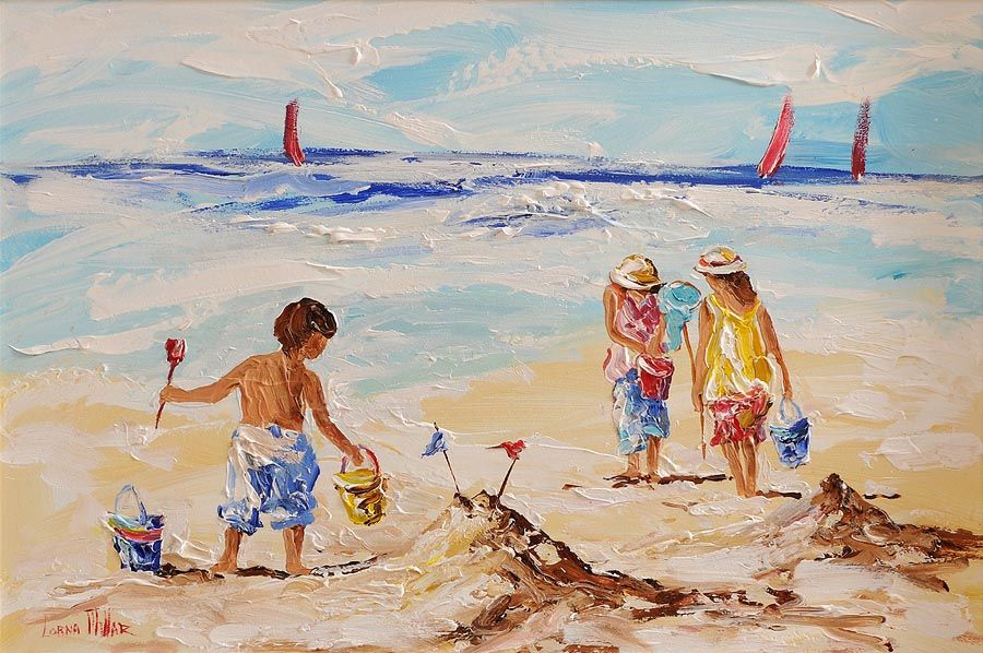 Lorna Millar (20th/21st Century), Playing on the Beach at Morgan O'Driscoll Art Auctions