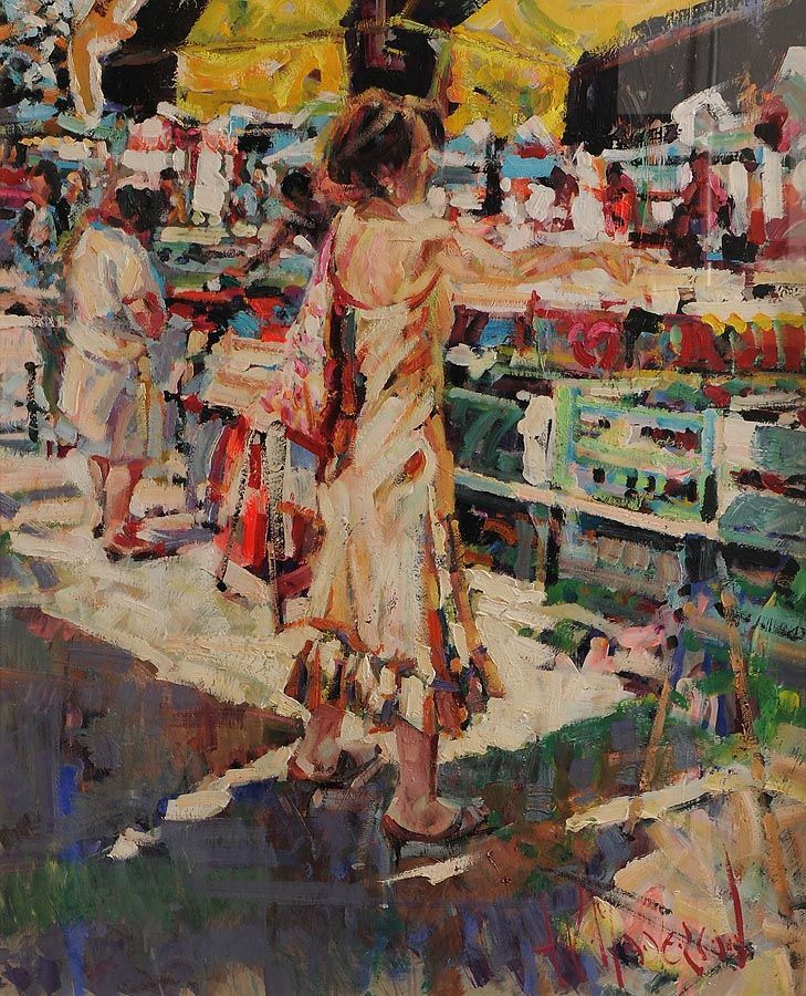 Arthur K. Maderson (b.1942), Simply Pointing Out, Le Vigan Market Day at Morgan O'Driscoll Art Auctions