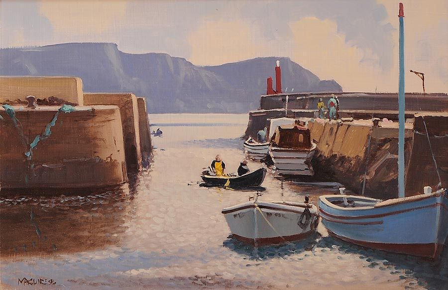 Cecil Maguire RHA RUA (b.1930), Purteen Harbour, Achill Island, Co. Mayo at Morgan O'Driscoll Art Auctions