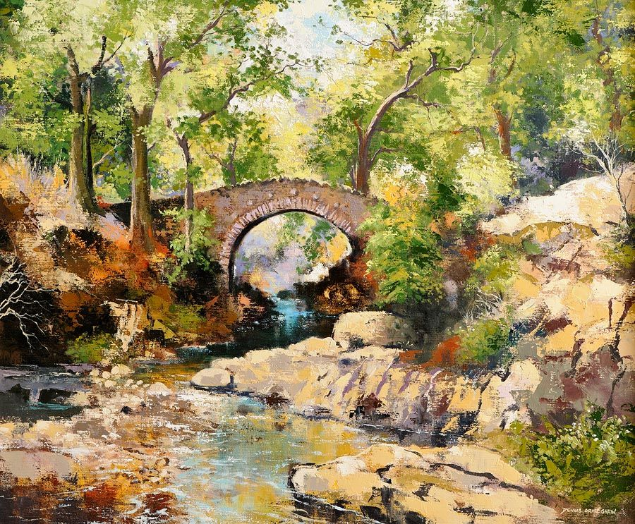 Denis Orme Shaw (20th/21st Century), Foley's Bridge, Tollymore Forest Park at Morgan O'Driscoll Art Auctions