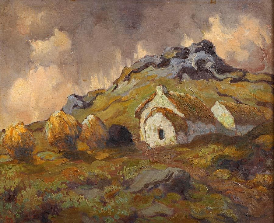 Lillian Lucy Davidson ARHA (1893-1954), Connemara Cottage with Haystacks & Peat at Morgan O'Driscoll Art Auctions