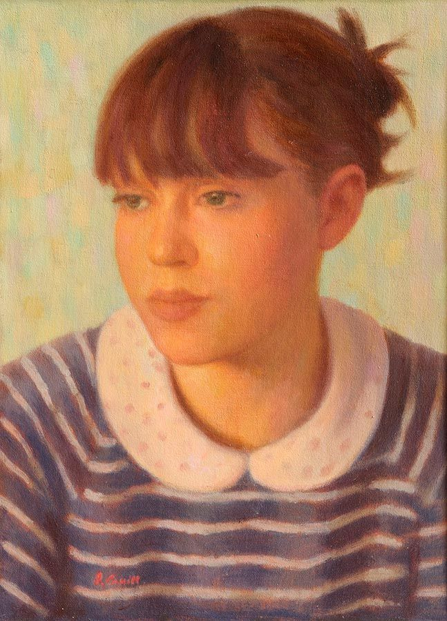 James Cahill (20th/21st Century), Girl in a Striped Top at Morgan O'Driscoll Art Auctions