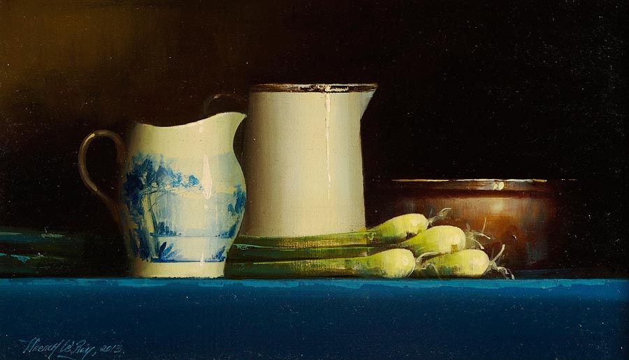 David Ffrench Le Roy (b.1971), Dutch Blue and Leeks at Morgan O'Driscoll Art Auctions