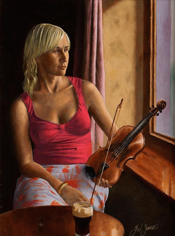 Ted Jones (b.1952), Mary The Fiddler at Morgan O'Driscoll Art Auctions