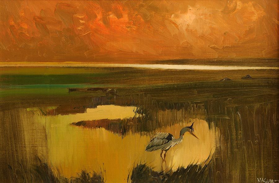 Cecil Maguire RHA RUA (b.1930), Heron, Corrib Shore at Morgan O'Driscoll Art Auctions
